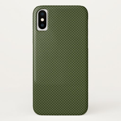 Army Green Carbon Fiber Style Decor iPhone XS Case