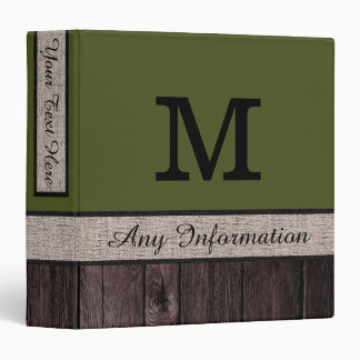 Army Green Color Rustic Look Wood Monogram Binder