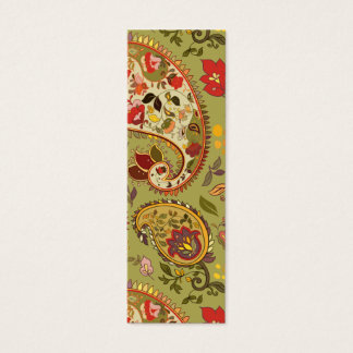 Army green floral paisley mini business card