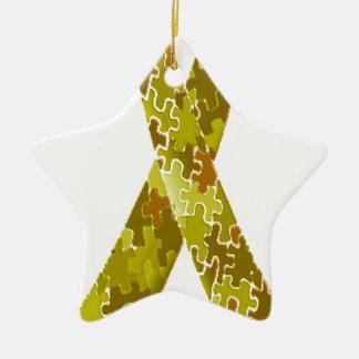 Army Green Jigsaw Puzzle Pattern Ribbon Ceramic Ornament