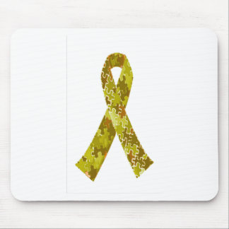 Army Green Jigsaw Puzzle Pattern Ribbon Mouse Pad