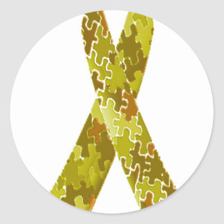 Army Green Jigsaw Puzzle Pattern Ribbon Classic Round Sticker