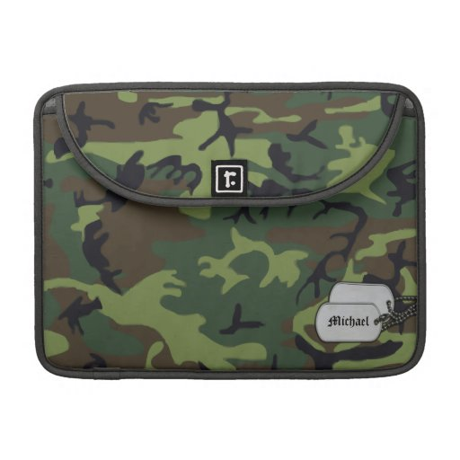 Army Green Miligary Camouflage w/ ID Tag Sleeves For MacBooks