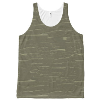 Army Green Tree  Bark All-Over Print Tank Top