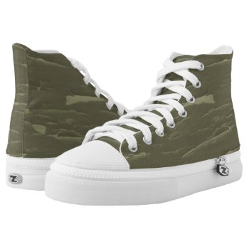 Army Green Tree Bark High-Top Sneakers