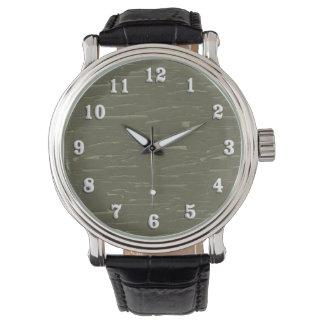 Army Green Tree  Bark Wristwatches