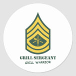 Army Grill Sergeant Round Stickers
