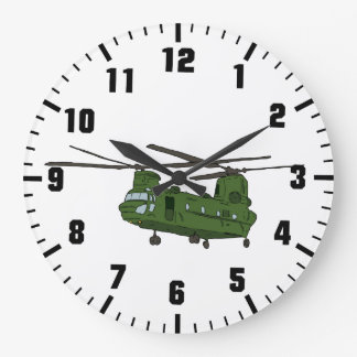 army helicopter at war large clock