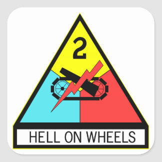 Army Hell On Wheels Square Sticker