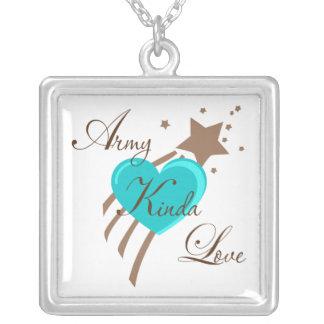 Army Kinda Love Square Pendant Necklace