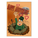 Army Man waiving Happy Anniversary Greeting Cards