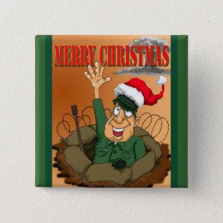 Army Man Waving with Santa Hat Pinback Button