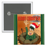 Army Man Waving with Santa Hat Pinback Button