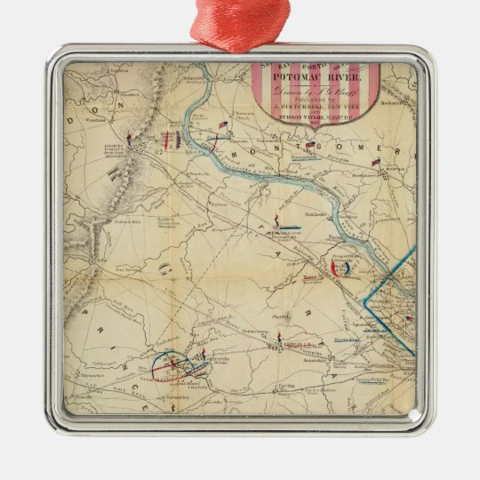 Army Map of The Seat of War In Virginia Metal Ornament