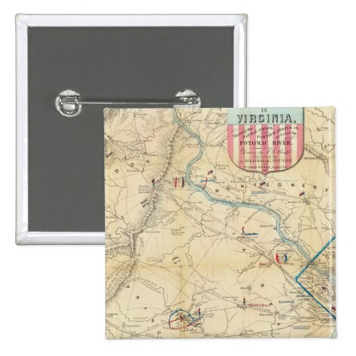 Army Map of The Seat of War In Virginia Pinback Button