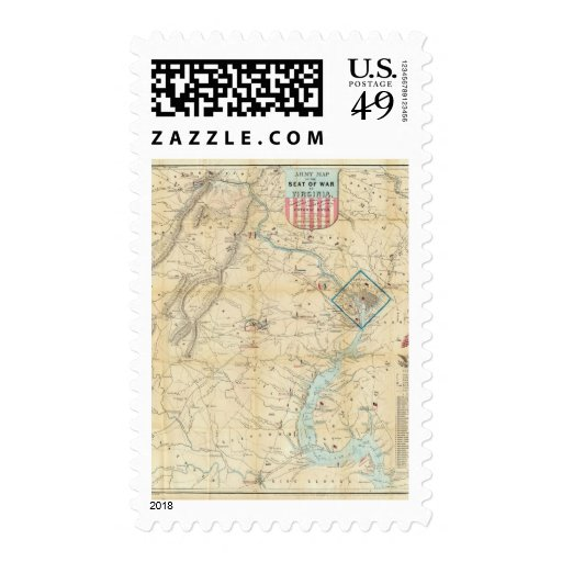 Army Map of The Seat of War In Virginia Postage