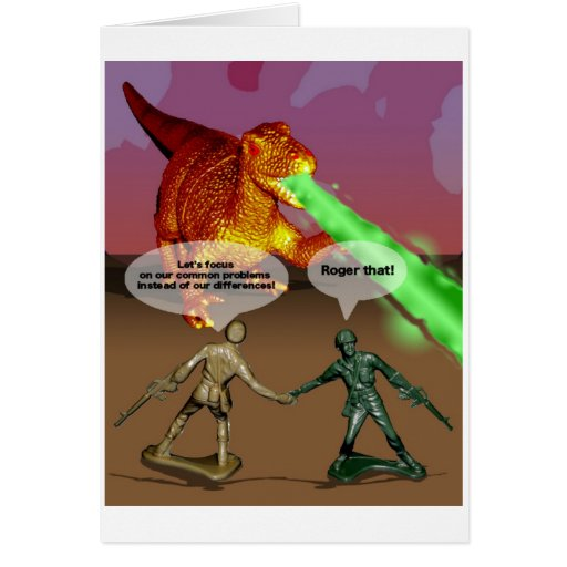 Army men working together card