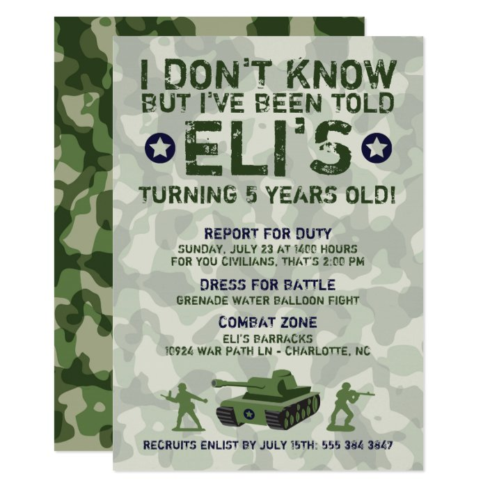Army Military Birthday Party Invitation