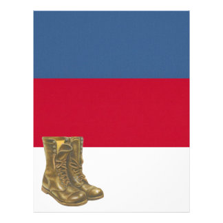 Army Military Boots on Red White and Blue Scrapboo Letterhead