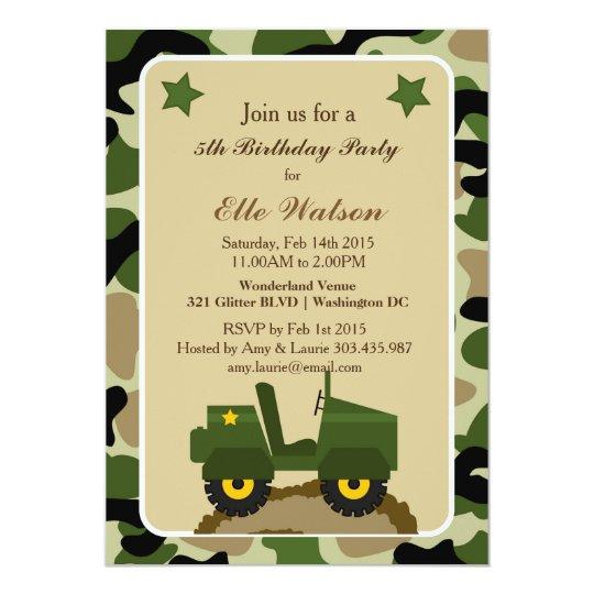 Army Military Camo Birthday Party Invitations