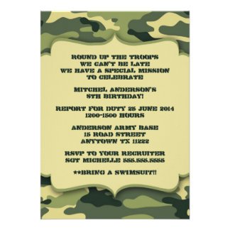Army Military Camouflage Birthday Party Invite