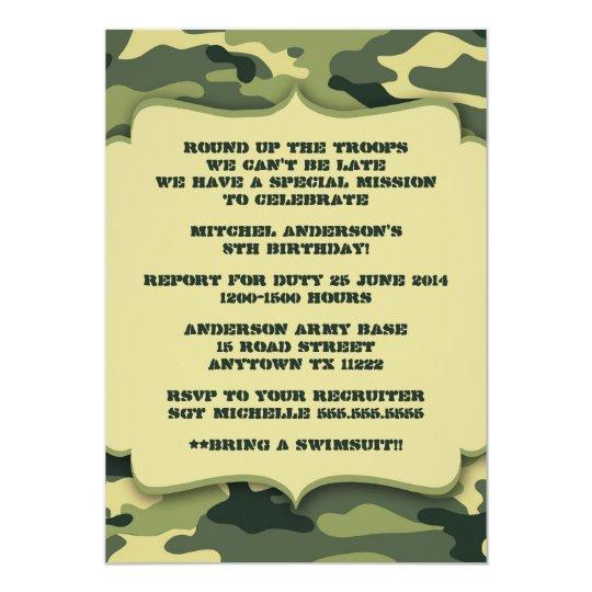 army military camouflage birthday party invite | zazzle, Birthday invitations