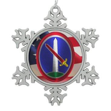 Army Military District Washington Keepsake Snowflake Pewter Christmas Ornament