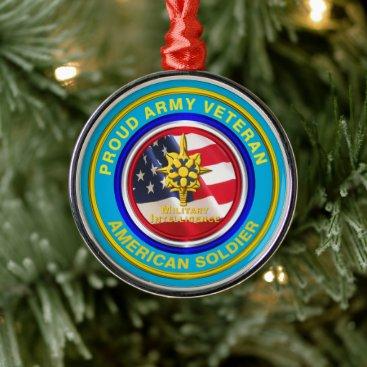 Army Military Intelligence Veteran Keepsake Christ Metal Ornament