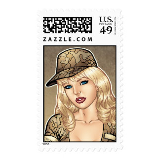 Army, Military Pin-up Good Girl Art by Al Rio Postage Stamp