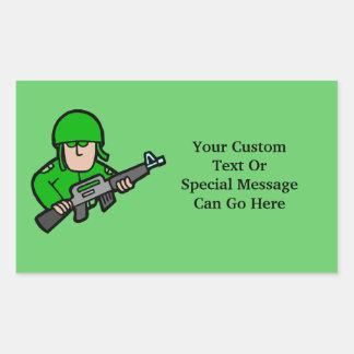 Army Military Soldier Camo Green Designer Art Rectangular Sticker