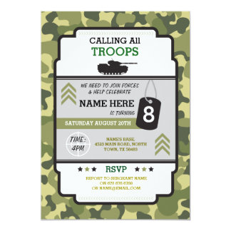 ARMY MILITARY TROOPS TANK INVITE BIRTHDAY PARTY