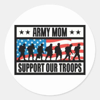 ARMY MOM CLASSIC ROUND STICKER
