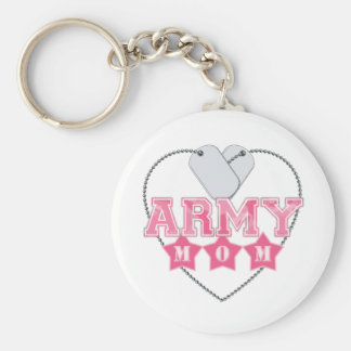 Army Mom Dog Tags Heart Basic Round Button Keychain