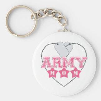 Army Mom Dog Tags Heart Keychain