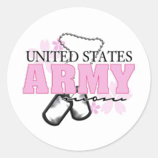Army Mom flowers Classic Round Sticker