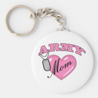 Army Mom Heart N Dog Tag Keychain
