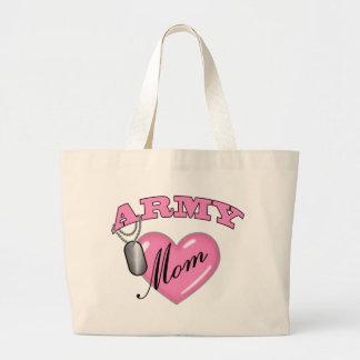 Army Mom Heart N Dog Tag Large Tote Bag