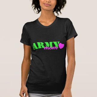 Army Mom Lime Green Pink Heart Tee Shirt