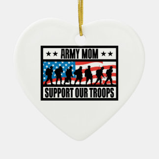 ARMY MOM Double-Sided HEART CERAMIC CHRISTMAS ORNAMENT