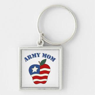 Army Mom Patriotic Apple Keychain