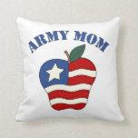 Army Mom Patriotic Apple Throw Pillows
