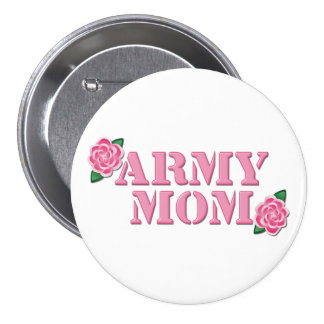 Army Mom Pink Roses Button
