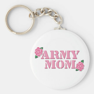 Army Mom Pink Roses Keychain