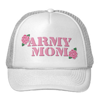 Army Mom Pink Roses Mesh Hats