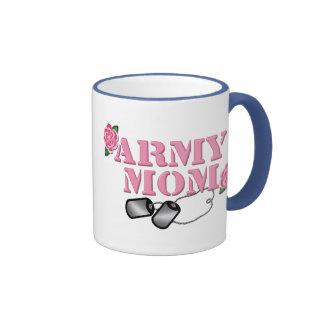 Army Mom Pink Roses N Dog Tags Mugs