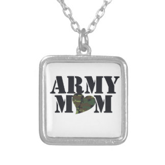 Army Mom Silver Plated Necklace