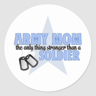 Army Mom stronger Classic Round Sticker