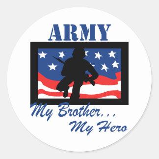 Army My Brother My Hero Classic Round Sticker