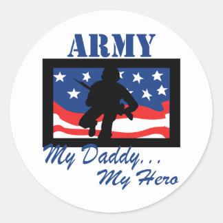Army My Daddy My Hero Classic Round Sticker