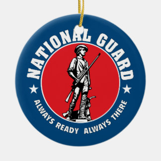 Army National Guard Historic Logo Double-Sided Ceramic Round Christmas Ornament